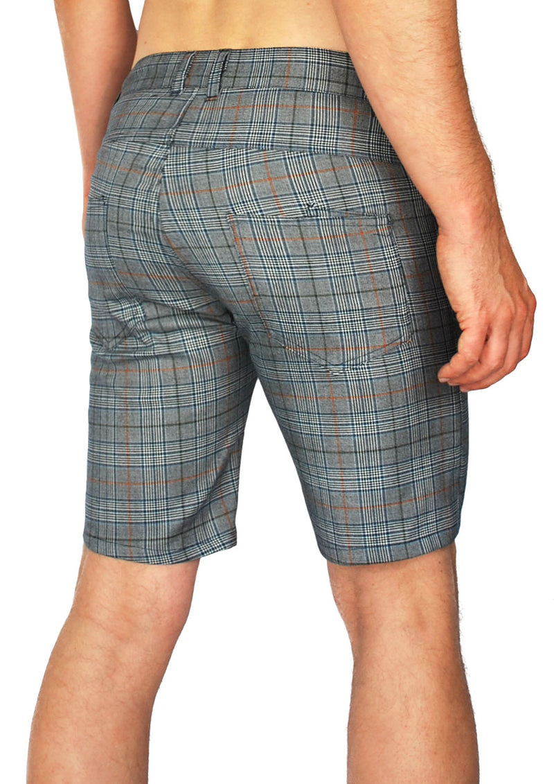 "Slim Fit 5-Pocket Short - 8.5"" Inseam (Navy Plaid)"