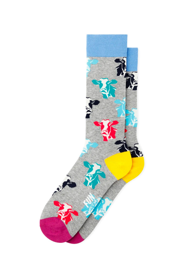 Cows Crew Sock (Grey)