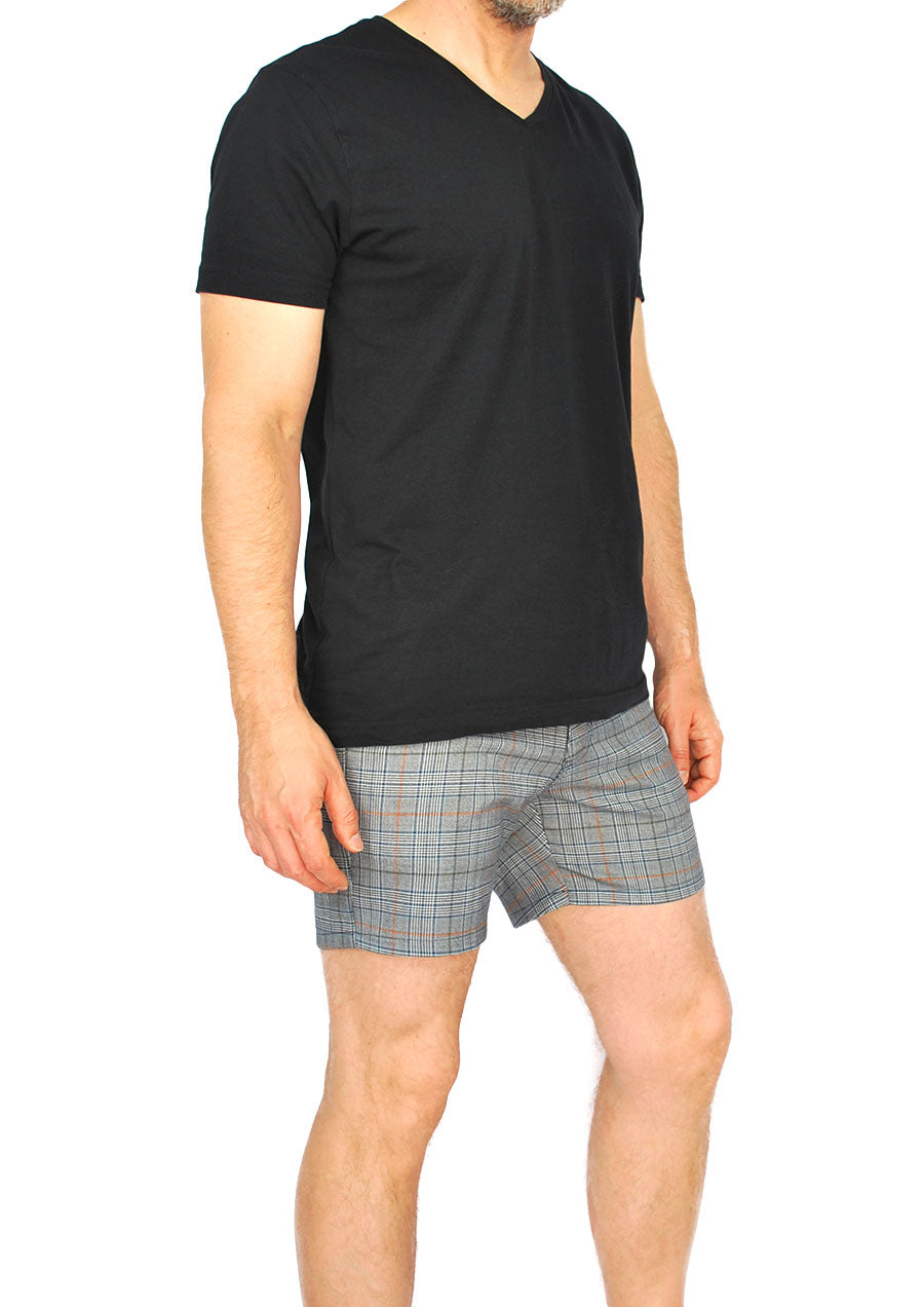 "Trouser Cut Shorts 4"" Inseam (Navy Plaid)"