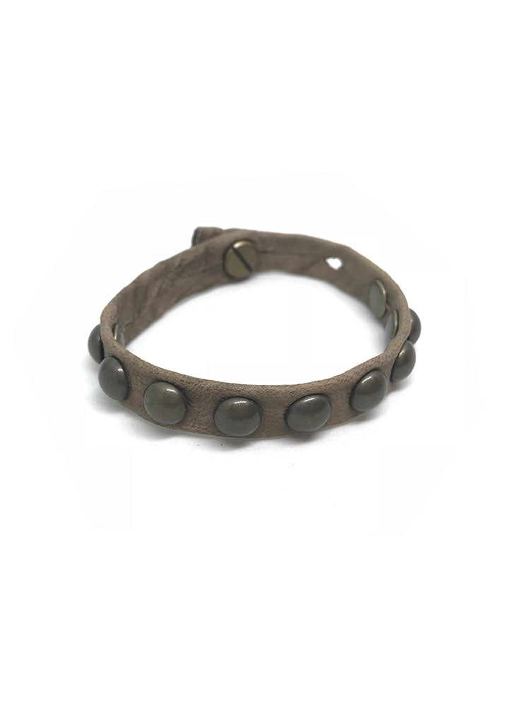 Dotty Rounded Stud Leather Bracelet