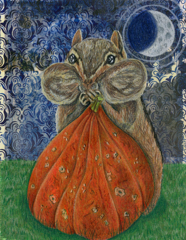 A chipmunk stuffs his face with a red kuri squash found by full moonlight