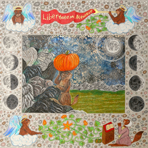 A prairie dog escapes with a pumpkin on her head over the rocks. The border is illuminated in medieval style