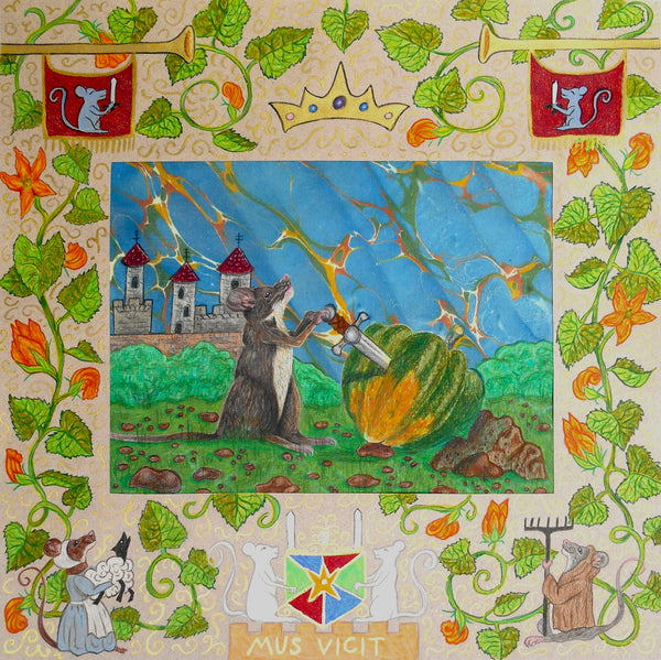 A mouse stands victorious as he pulls a sword from an acorn squash. The border is illuminated in medieval style.