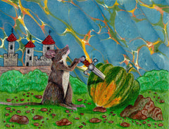 A gray mouse pulls a sword from an acorn squash