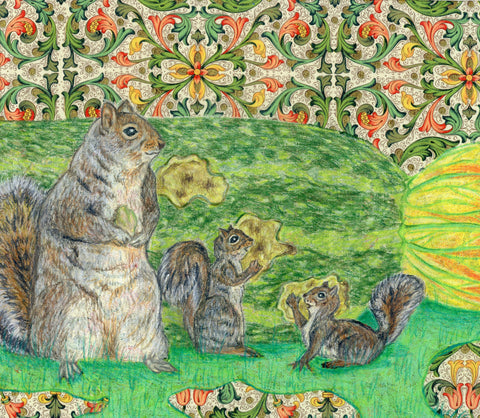 A squirrel family feasts on a zucchini