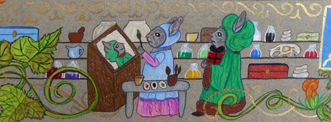 A medieval bunny artist paints her beloved, ignoring him standing behind her with a gift
