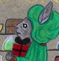 A gray bunny in a green medieval hat looks sadly on as his beloved ignores him