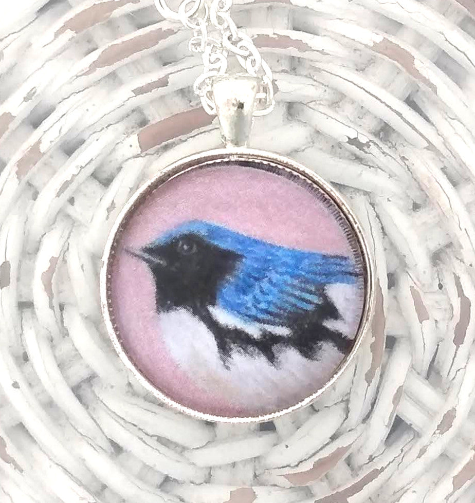 Black Throated Blue Warbler Pendant