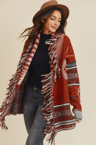 OUT WEST CARDIGAN- dark rust