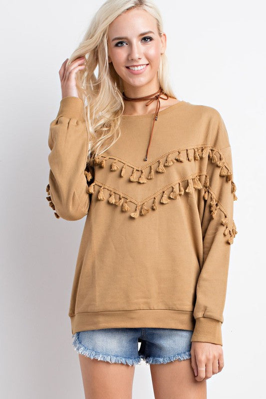 HIT THE ROAD TASSEL SWEATSHIRT