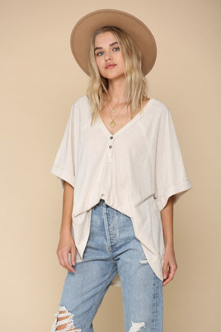 SADIE OVERSIZED TOP- clay