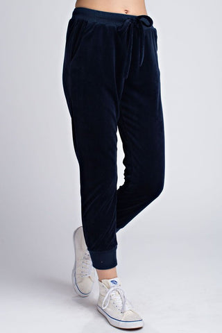 DISTRESSED VELVET JOGGERS- navy