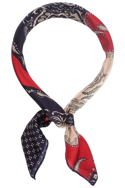 VINTAGE PRINT NECKERCHIEF/SCARF- NAVY/RED