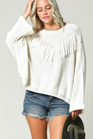 STELLA FRINGE SWEATER- off white