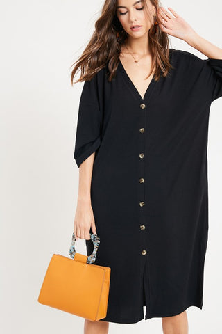 LENNY BUTTON DOWN CARDIGAN DRESS- Black