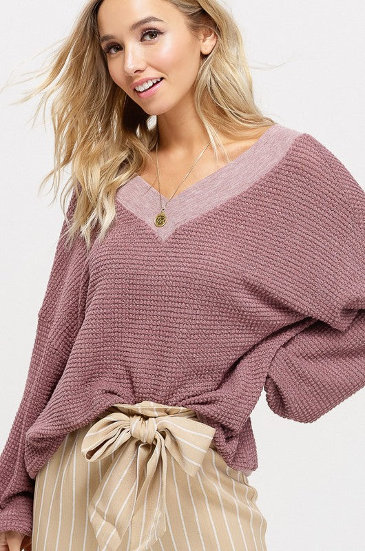 READY FOR THE WEEKEND PULLOVER-  mauve