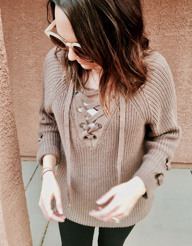 SIMONE LACE-UP SWEATER-taupe