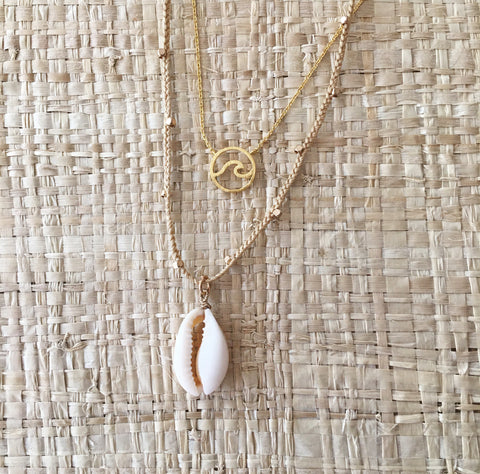 COWRIE SHELL NECKLACE with Gold nugget beads