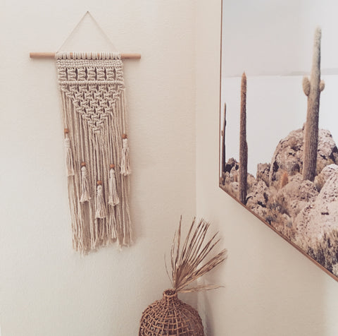 MACRAME WALL HANGING WITH WOODEN BEADS