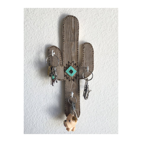 CACTUS KEY HOLDER- turquoise center