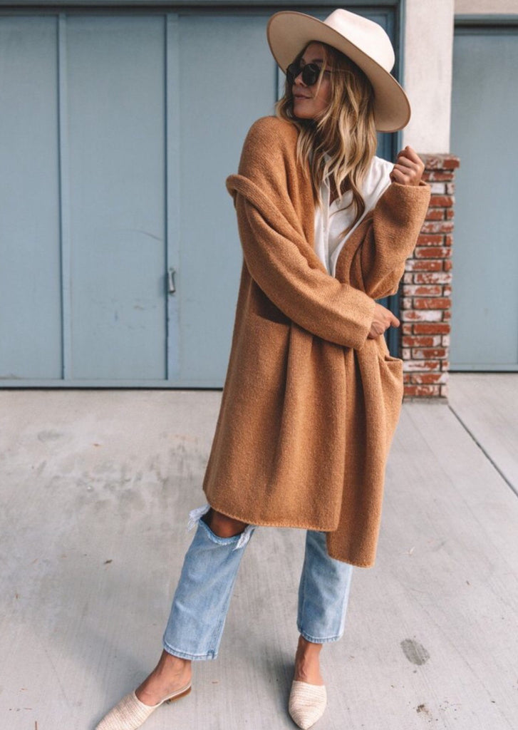 SARATOGA SWEATER COAT- CAMEL