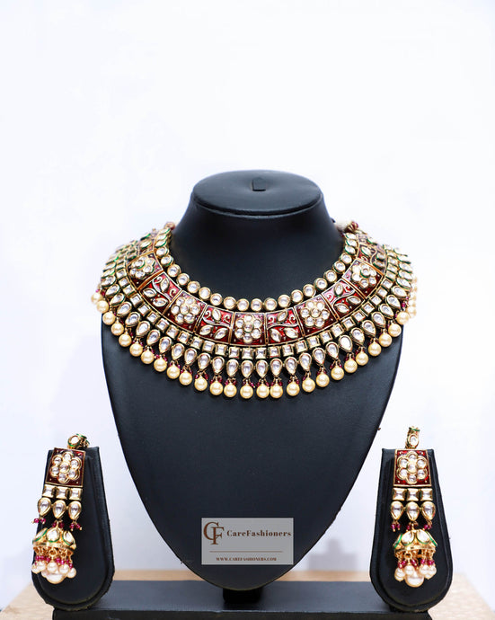 Beads & Polki Stones Kundan Choker Necklace Set in Red & Green by Care Fashioners - CareFashioners