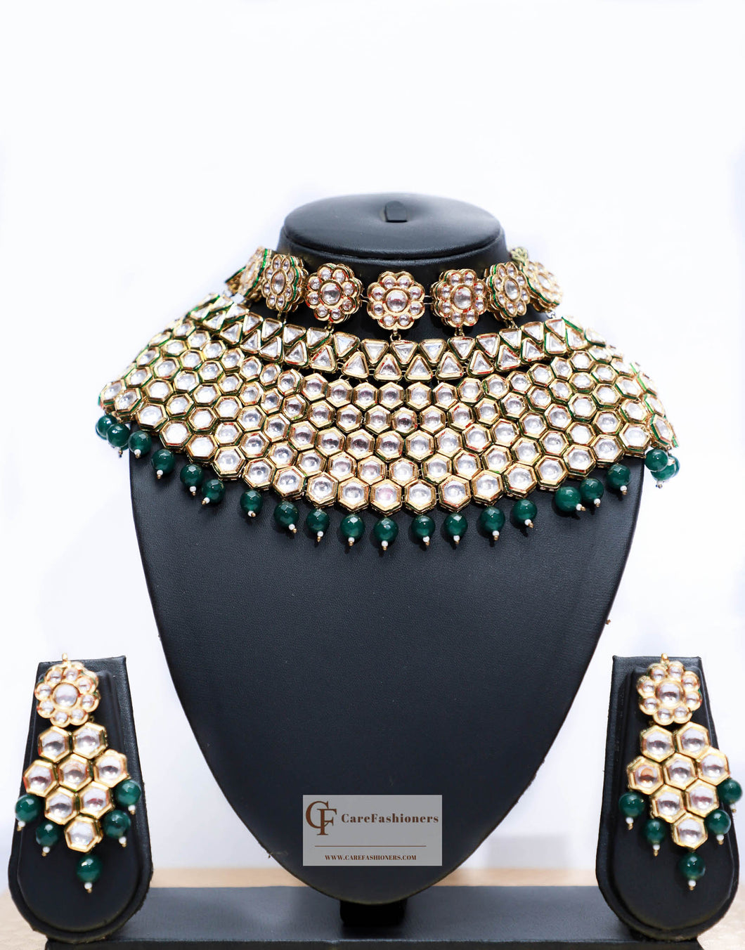 Green Beads & Polki Stones Kundan Choker Necklace Set by Care Fashioners - CareFashioners