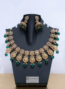Floral Design Polki Stones Kundan Necklace Set with Green Beads by Care Fashioners - CareFashioners
