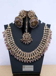 Beads & Polki Stones Kundan Necklace Set in Dusty Rose by Care Fashioners - CareFashioners