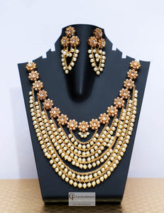 Floral Design Polki Stones with Pearls Necklace Set in Gold by Care Fashioners - CareFashioners