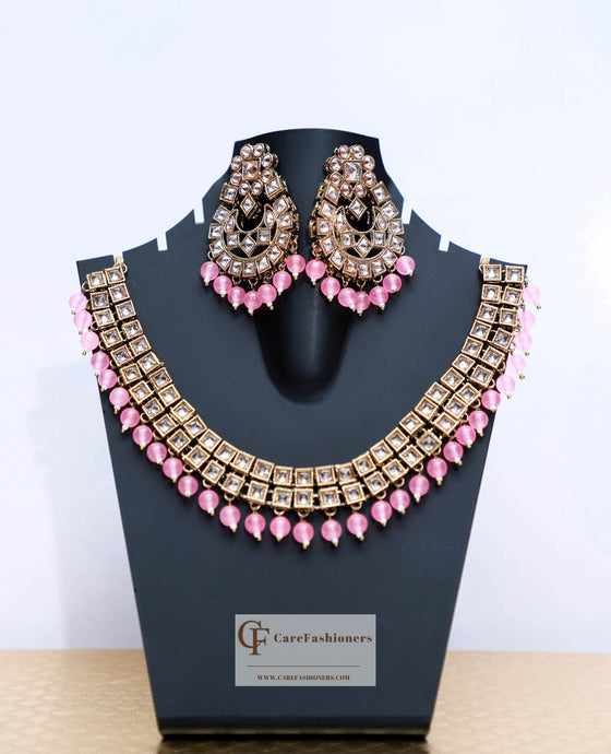 Beads & Polki Stones Kundan Necklace Set in Pink by Care Fashioners - CareFashioners