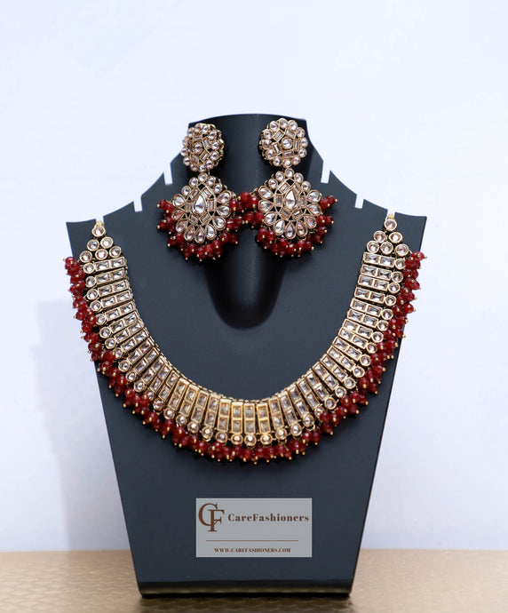Red Beads & Polki Stones Kundan Necklace Set by Care Fashioners - CareFashioners