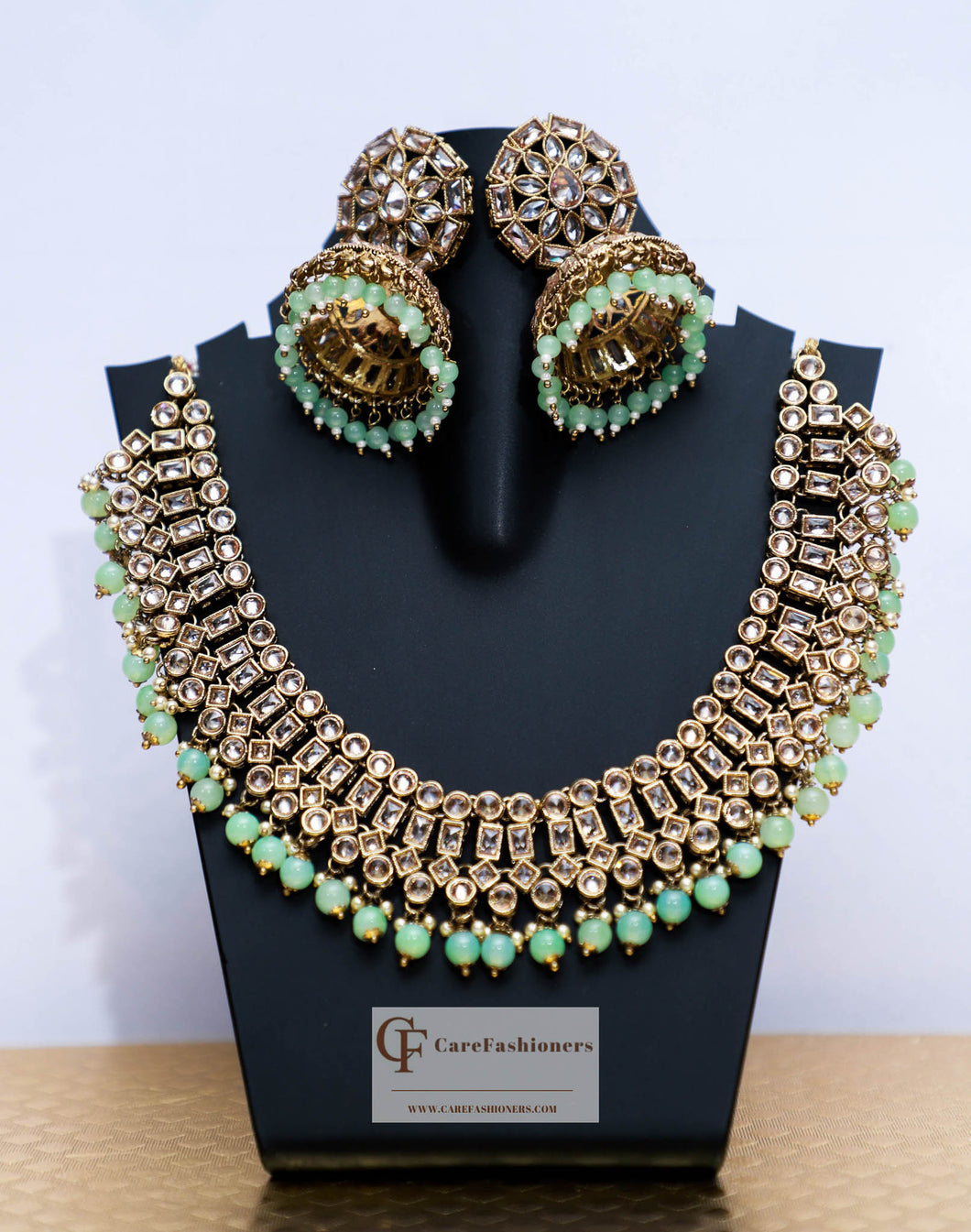Beads & Polki Stones Kundan Necklace in Mint by Care Fashioners - CareFashioners