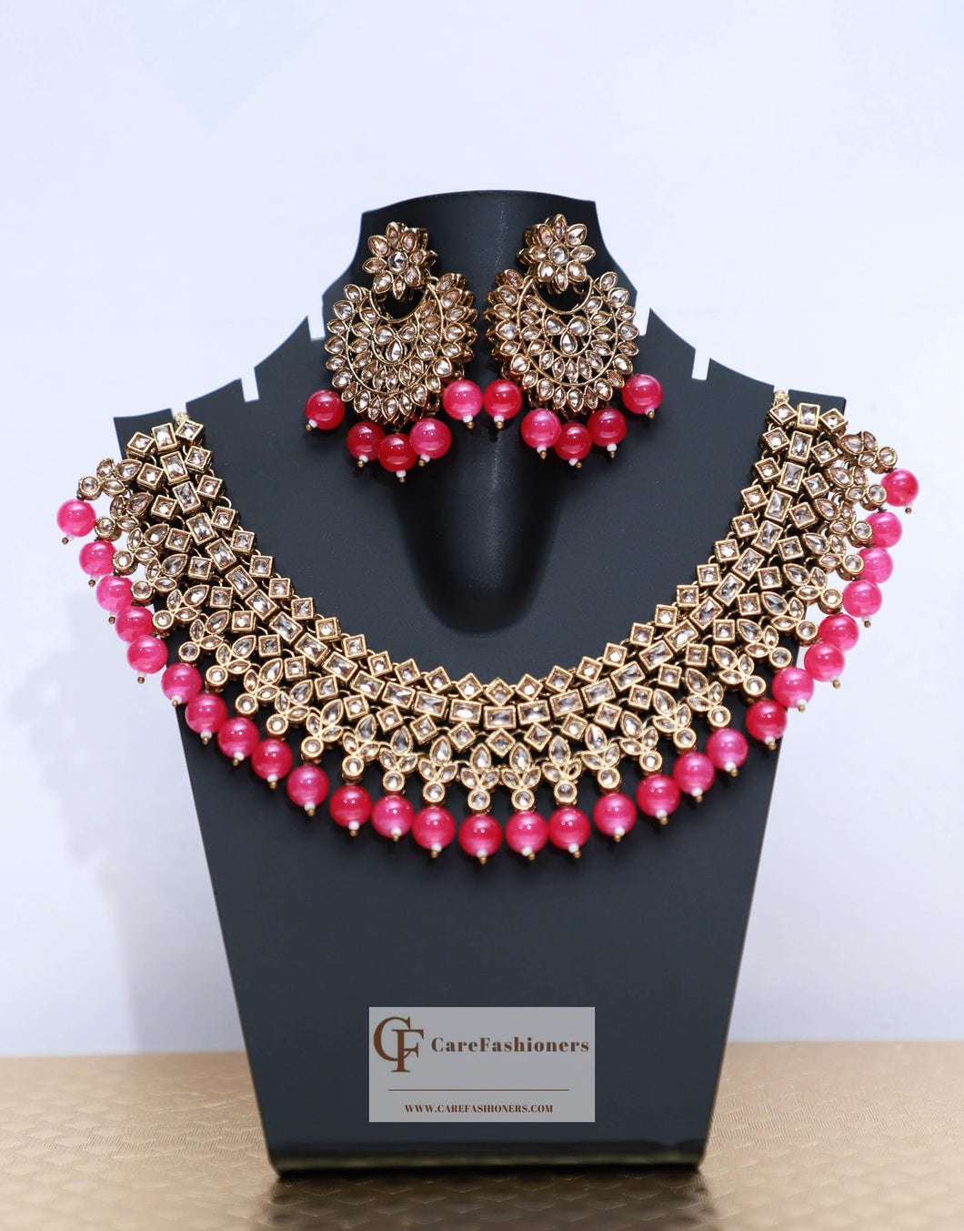 Mehendi Polish Polki Stones Kundan Necklace Set in Pink by Care Fashioners - CareFashioners