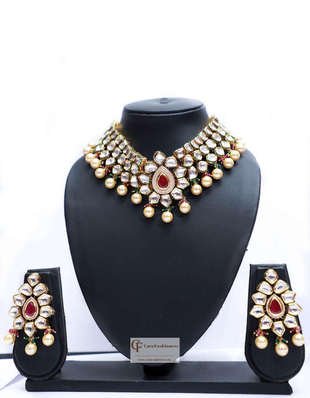 Beads & Polki Stones Kundan Choker Necklace Set by Care Fashioners - CareFashioners