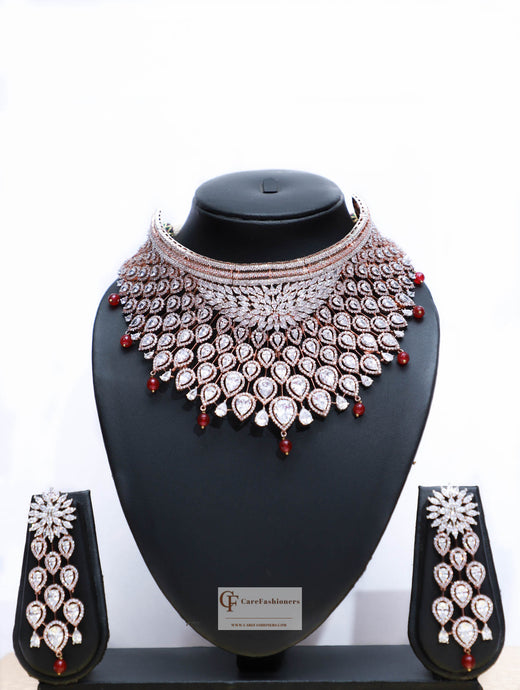 American Diamond Choker Necklace Set with Red Beads & Polki Stones by Care Fashioners - CareFashioners