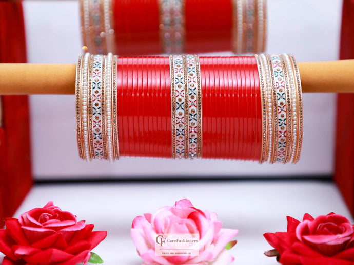 Pearl Dotted Designer Red Bridal Chura