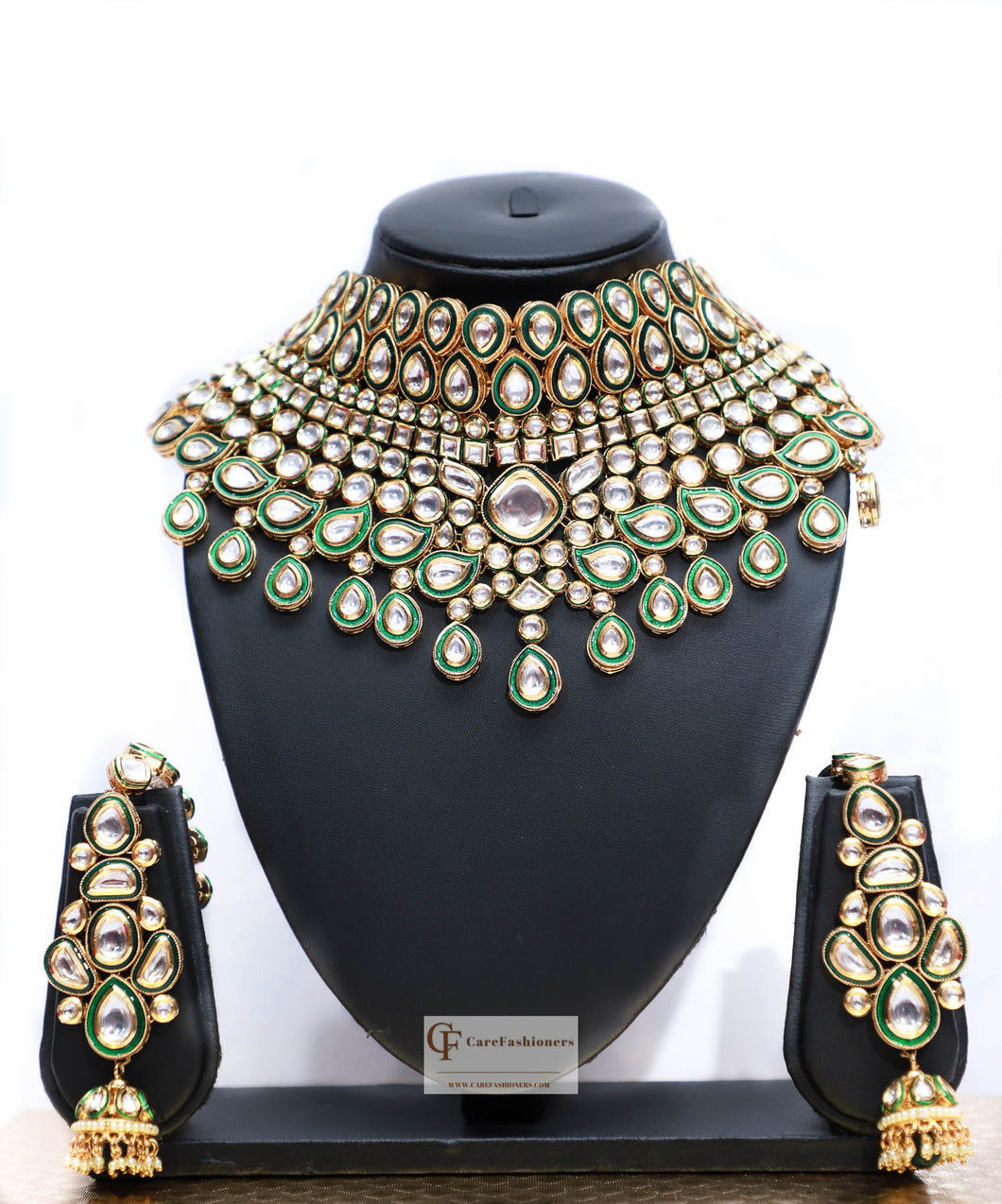 Polki Stones Kundan Choker Necklace Set in Green by Care Fashioners - CareFashioners