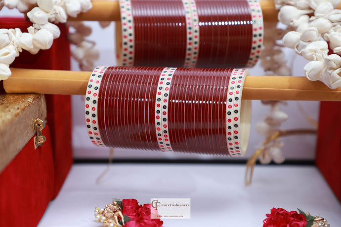 Dotted Maroon Bridal Chura