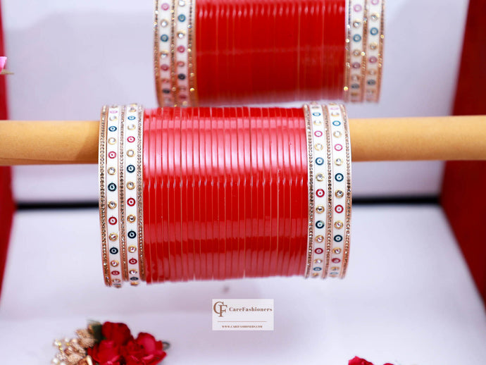 Dotted-Red-Jerkan-Traditional-Bridal-Chura