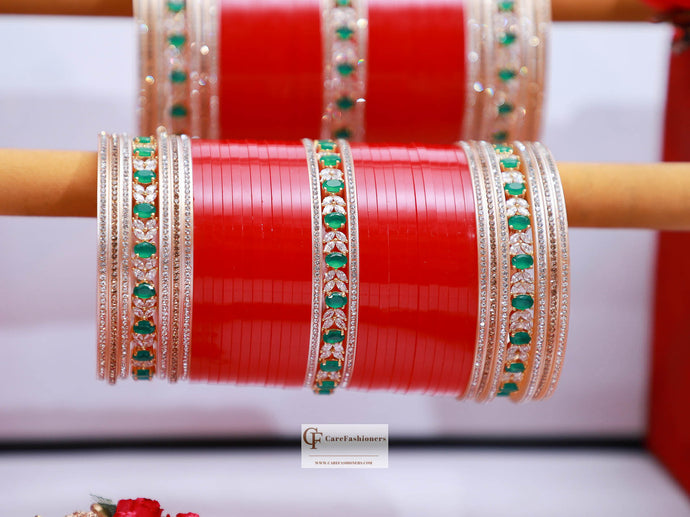 Green-American-Diamond-Jerkan-Red-Bridal-Chura