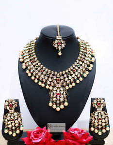 Beads & Polki Stones Kundan Choker Necklace Set in Multicolor by Care Fashioners - CareFashioners