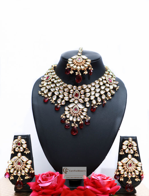 Beads & Polki Stones Kundan Choker Necklace Set in Maroon by Care Fashioners - CareFashioners