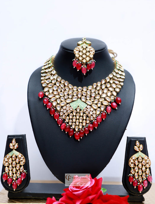 Beads & Polki Stones Kundan Choker Necklace in Red by Care Fashioners - CareFashioners