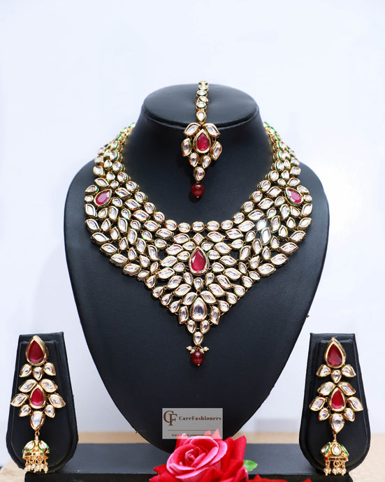 Beads & Polki Stones Kundan Choker Necklace Set in Red by Care Fashioners - CareFashioners