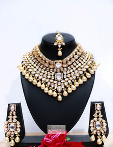 Gold Beads & Polki Stones Kundan Choker Necklace Set by Care Fashioners - CareFashioners