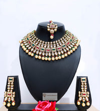 Load image into Gallery viewer, Multicolored Beads & Polki Stones Kundan Choker Necklace Set by Care Fashioners - CareFashioners