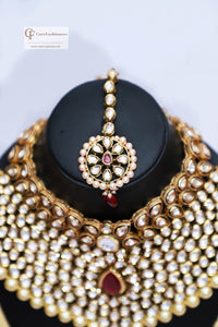 Gold Beads & Polki Stones Kundan Choker  Necklace Set in Dark Red by Care Fashioners - CareFashioners