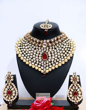 Load image into Gallery viewer, Gold Beads & Polki Stones Kundan Choker  Necklace Set in Dark Red by Care Fashioners - CareFashioners