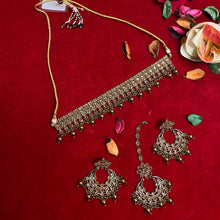 Load image into Gallery viewer, Gold Kundan Choker Necklace Set with Earrings & Tikka - Care Fashioners